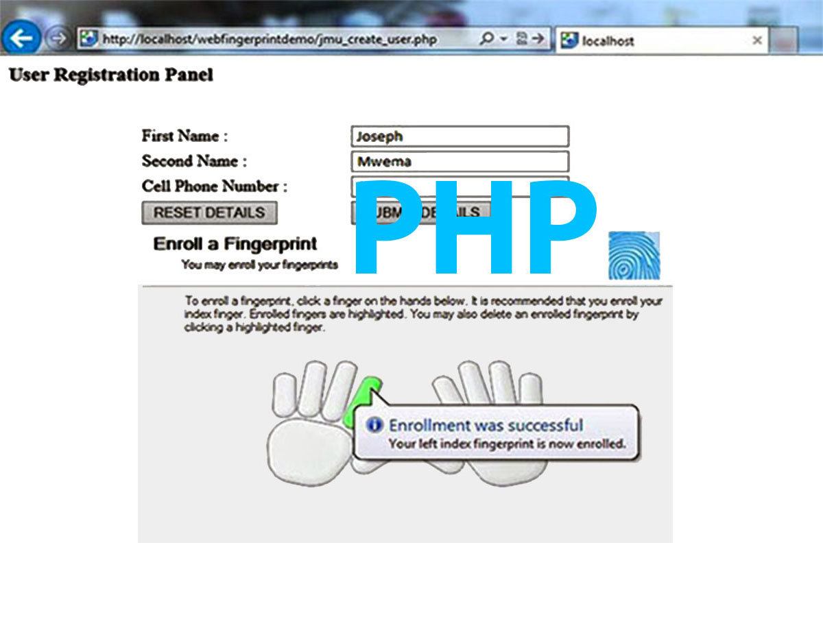 PHP Web Browser based Biometric Fingerprint Authentication