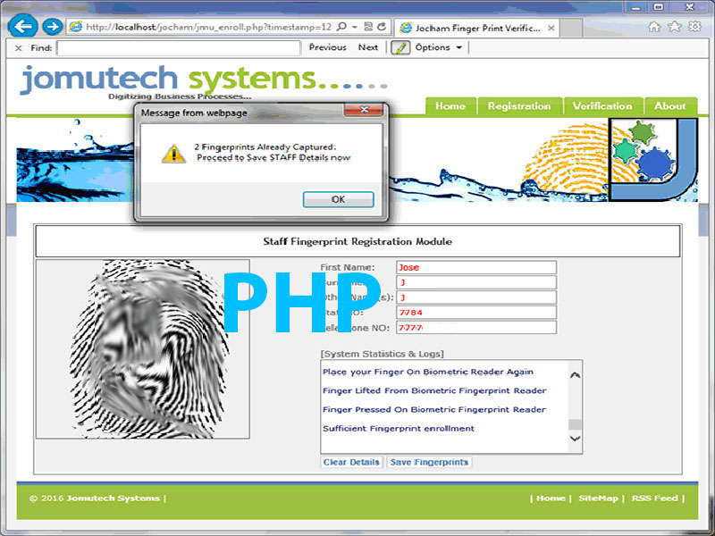 PHP Web Browser based Biometric Fingerprint Authentication using MULTIPLE Biometric Fingerprint Scanners / Readers