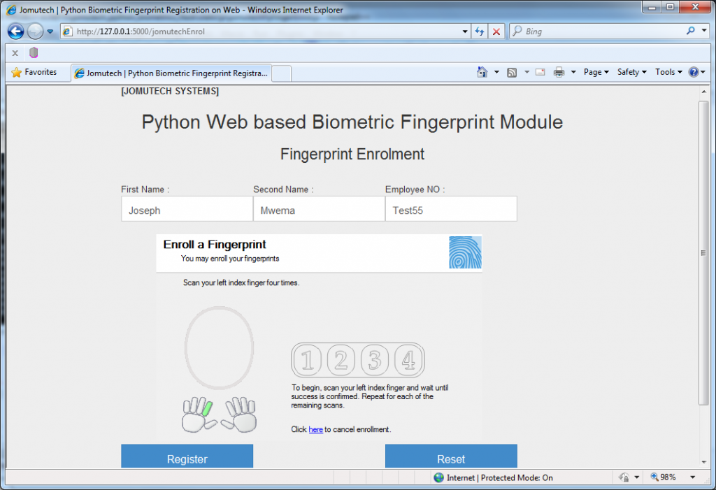 Python Web Browser based Biometrics Fingerprint Enrollment and Person Particulars Registration