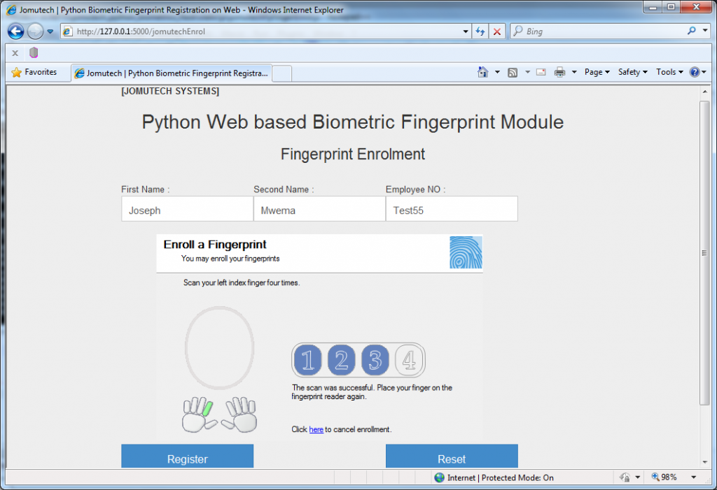 Fingerprint Enrolled in Python Web Browser based Biometrics Registration sub module