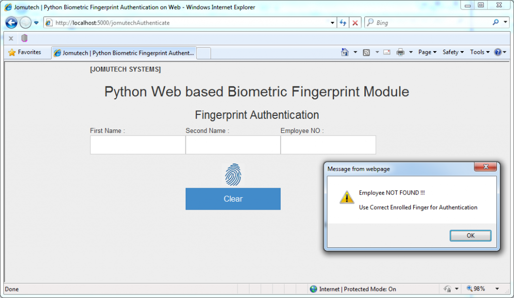 Python Web Biometric Authentication PACK – Jomutech Systems