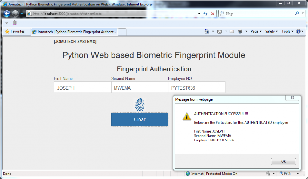 Python Web Browser based Biometrics Fingerprint Authentication for MATCH FOUND