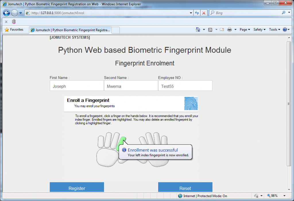 Fingerprint Enrollment Successful in Python Web Biometrics Registration panel