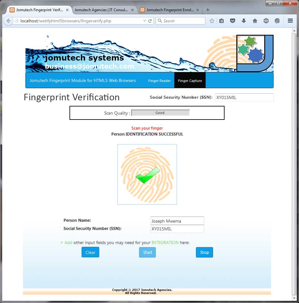 Fingerprint Authentication in HTML5 Web Biometrics SUCCESSFUL. Fingerprint MATCH FOUND