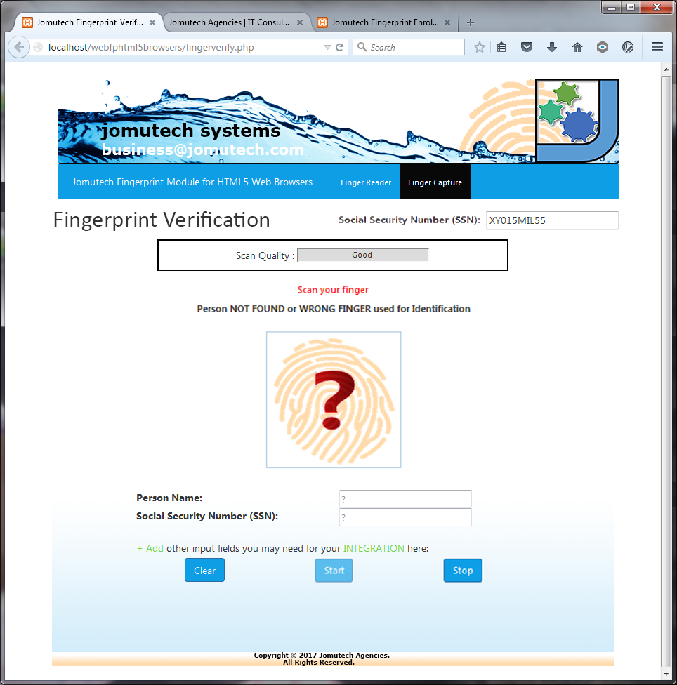 Fingerprint Authentication in HTML5 Web Biometrics shwoing. Fingerprint MATCH NOT FOUND