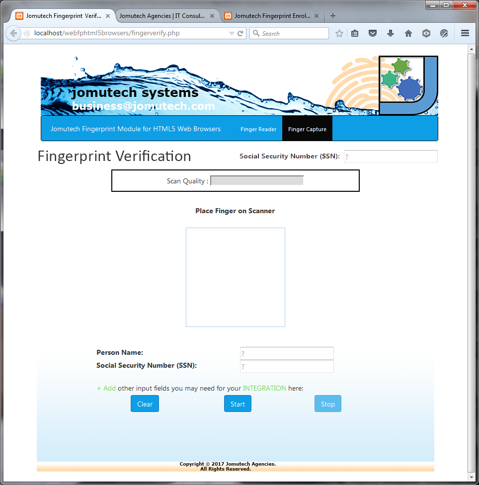 Fingerprint Authentication in HTML5 Web Biometrics