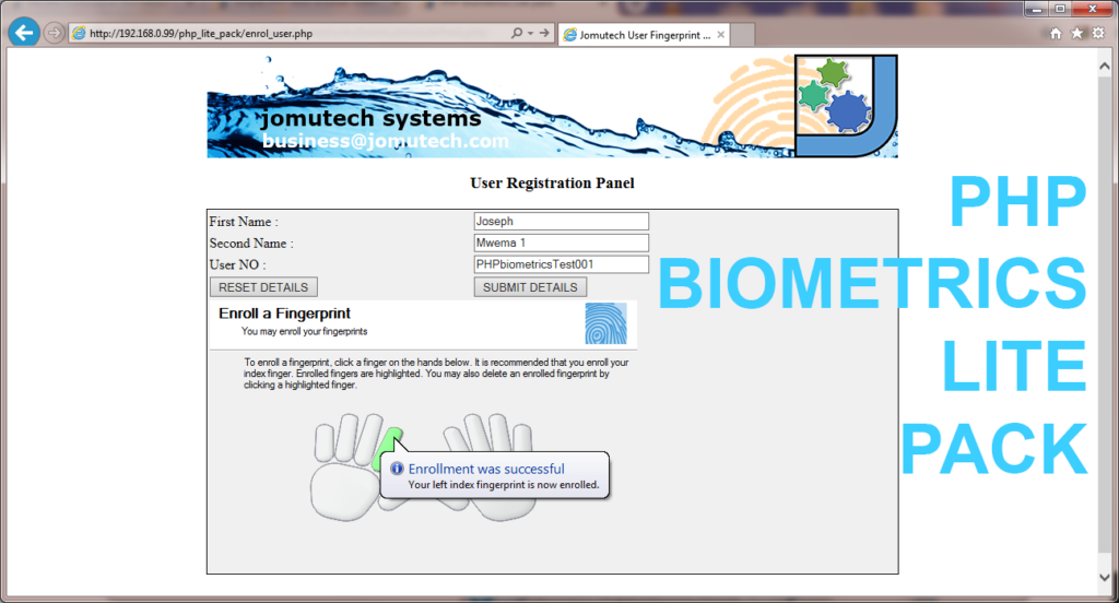 PHP Web Biometrics Lite pack