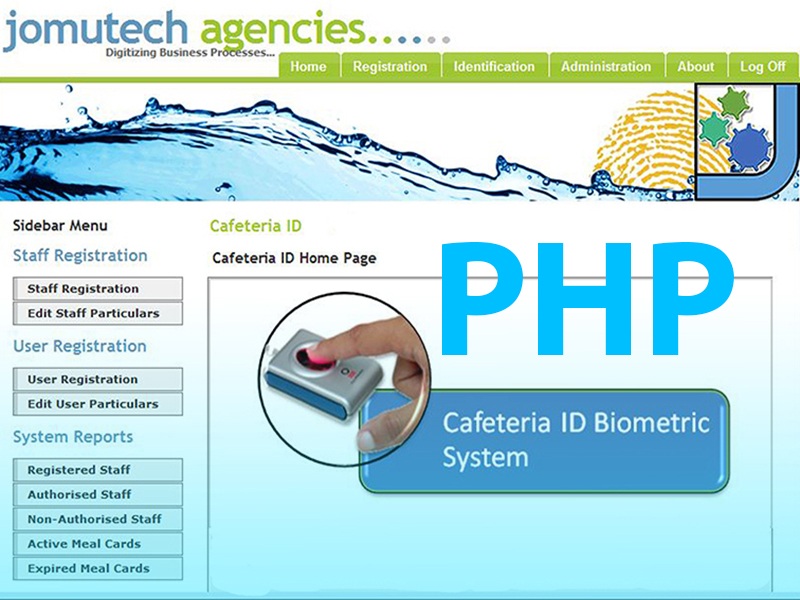 PHP Web Browser based Biometric Fingerprint Authentication Cafeteria ID Access Control Software Source Code developed in PHP, MySQL, HTML and JavaScript