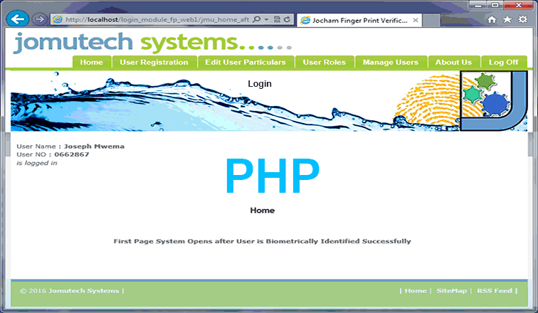 PHP Web Biometrics Fingerprint Login