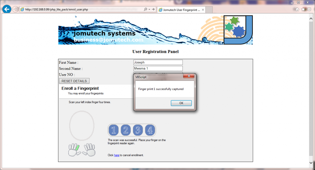 PHP Web Biometric Authentication Lite PACK - Jomutech Systems