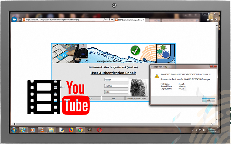 PHP Web Biometric Authentication Silver PACK's Fingerprint Authentication demo on Youtube. Click to watch