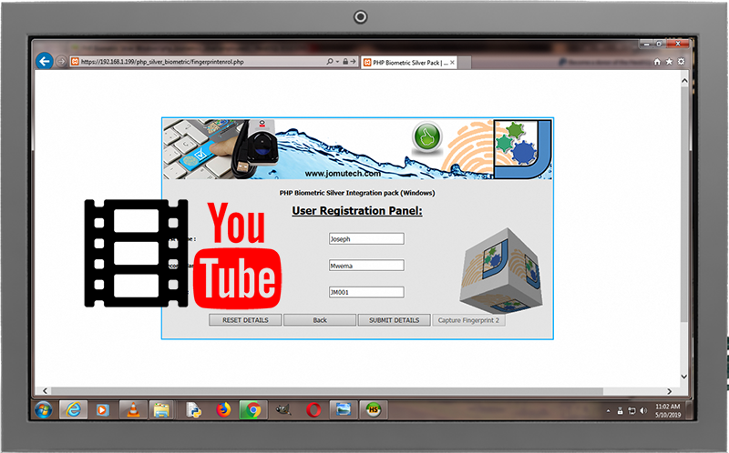 PHP Web Biometric Authentication Silver PACK's Fingerprint Enrollment demo on Youtube. Click to watch