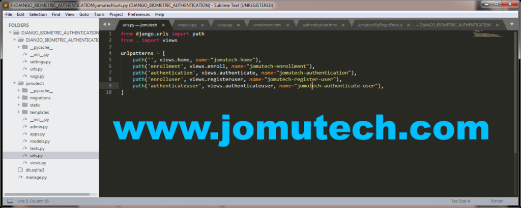 Python Django Biometric urls for the launching the Jomutech App Web Pages for  Biometric Enrollment and Biometric Authentication