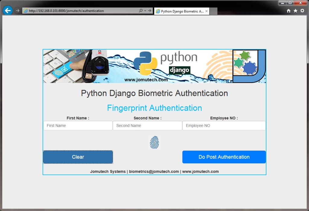 Python Django Biometric Fingerprint Authentication