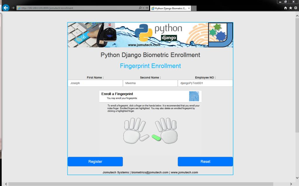 Python Django Biometric Fingerprint Enrollment