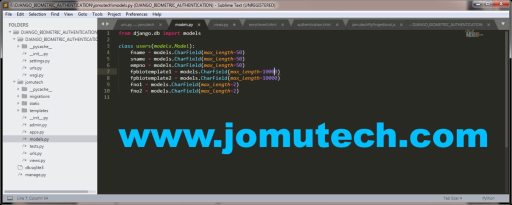 Python Django Biometric users class SQL Table model for jomutech app and its jomutech_users SQL table