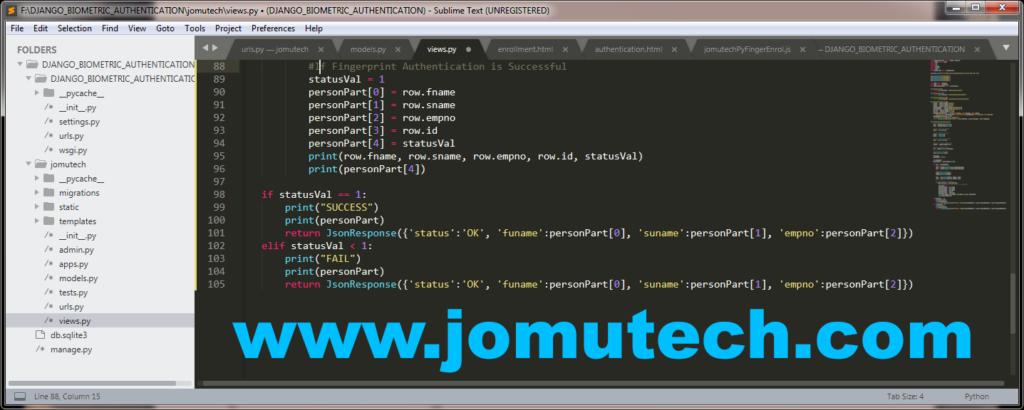 Python Django Biometric app views file