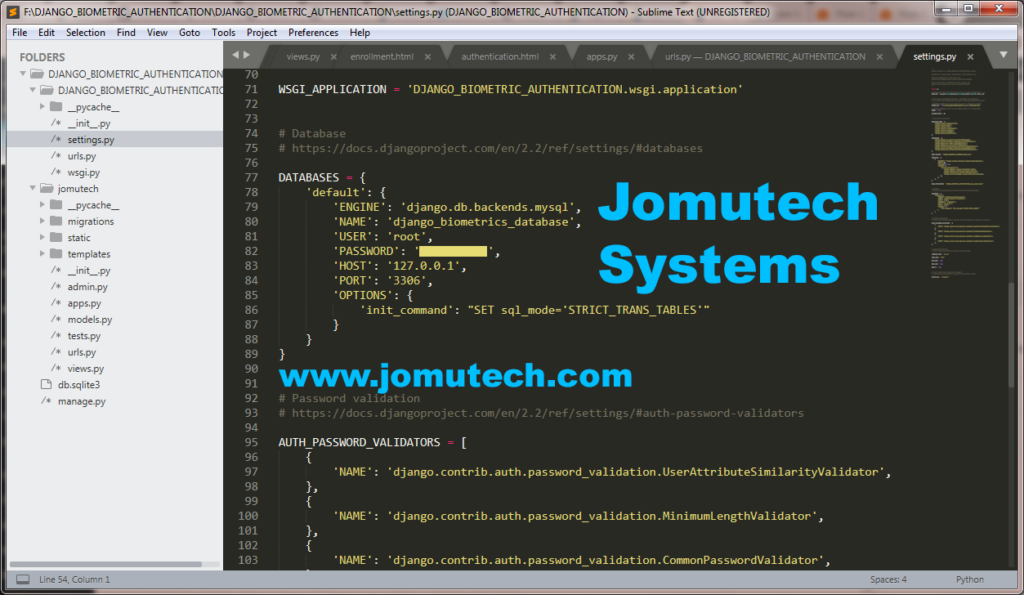 Python Django Biometric Authentication – Jomutech Systems
