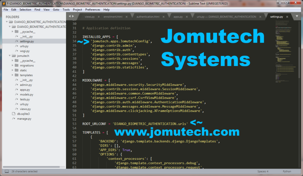 site settings py file showing installed jomutech bometrics authentication app