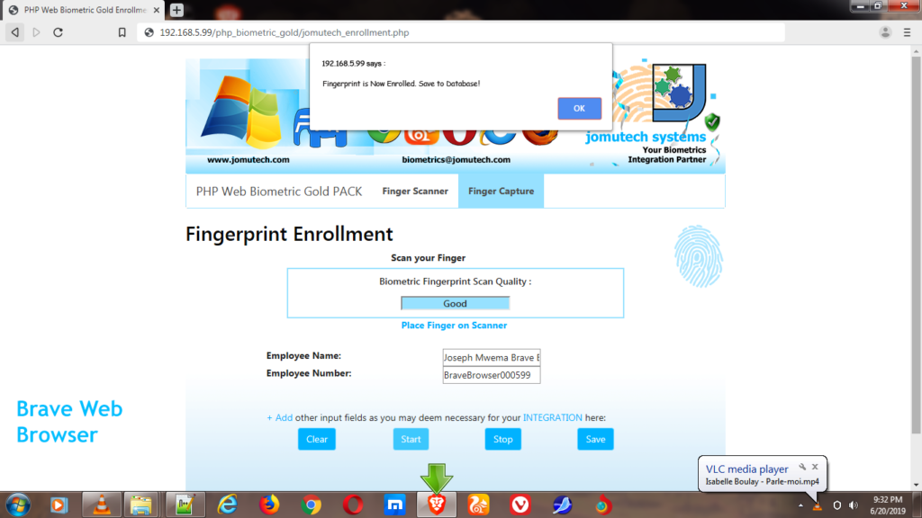 PHP Web Biometric Fingerprint Enrollment while using Brave Web Browser