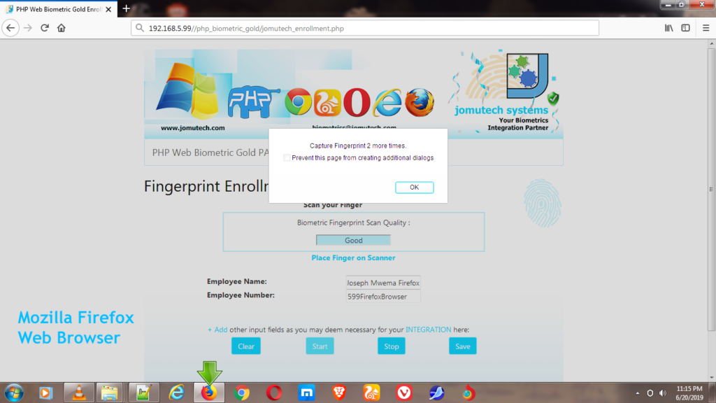 Capturing Fingerprints during Fingerprint Enrollment using Firefox Web Browser