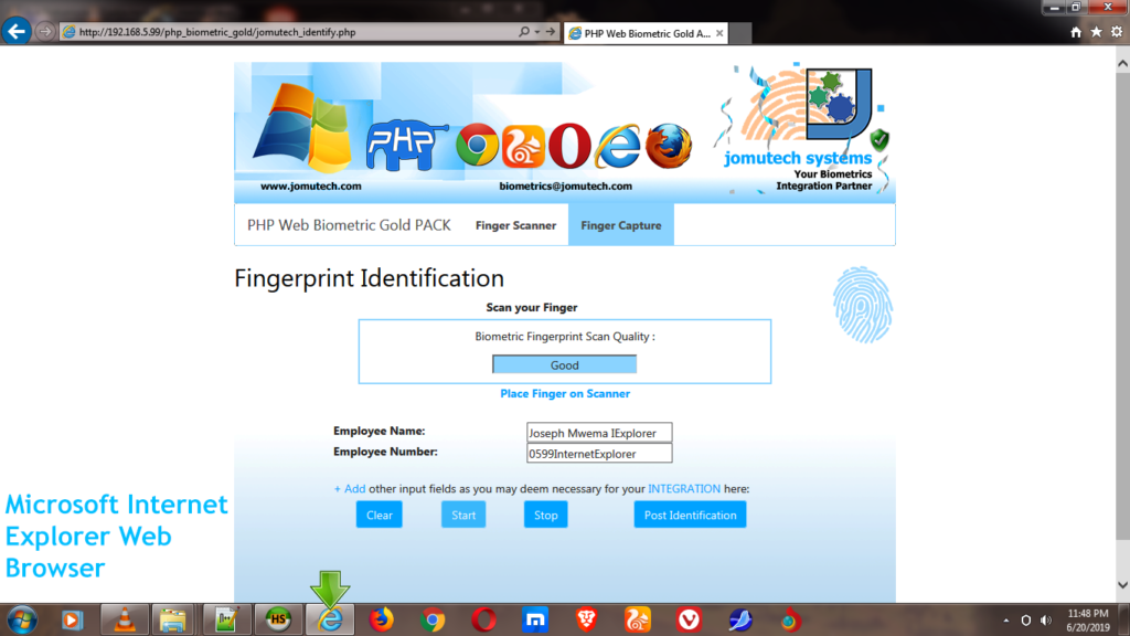 Fingerprint Match Found in PHP Web Biometric Authentication Gold PACK using Internet Explorer