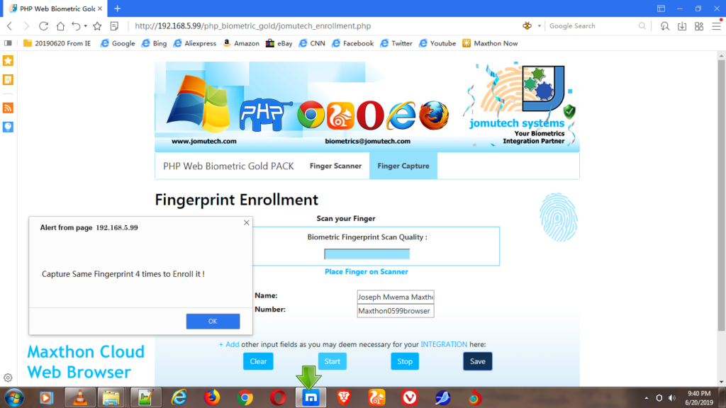 Fingerprint Capture for Enrollment in PHP Web Biometric Authentication Gold PACK using Maxthon Cloud Web Browser