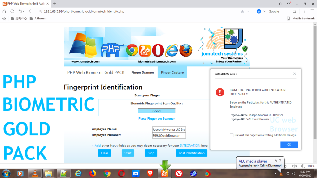 PHP Web Biometric Authentication Gold PACK