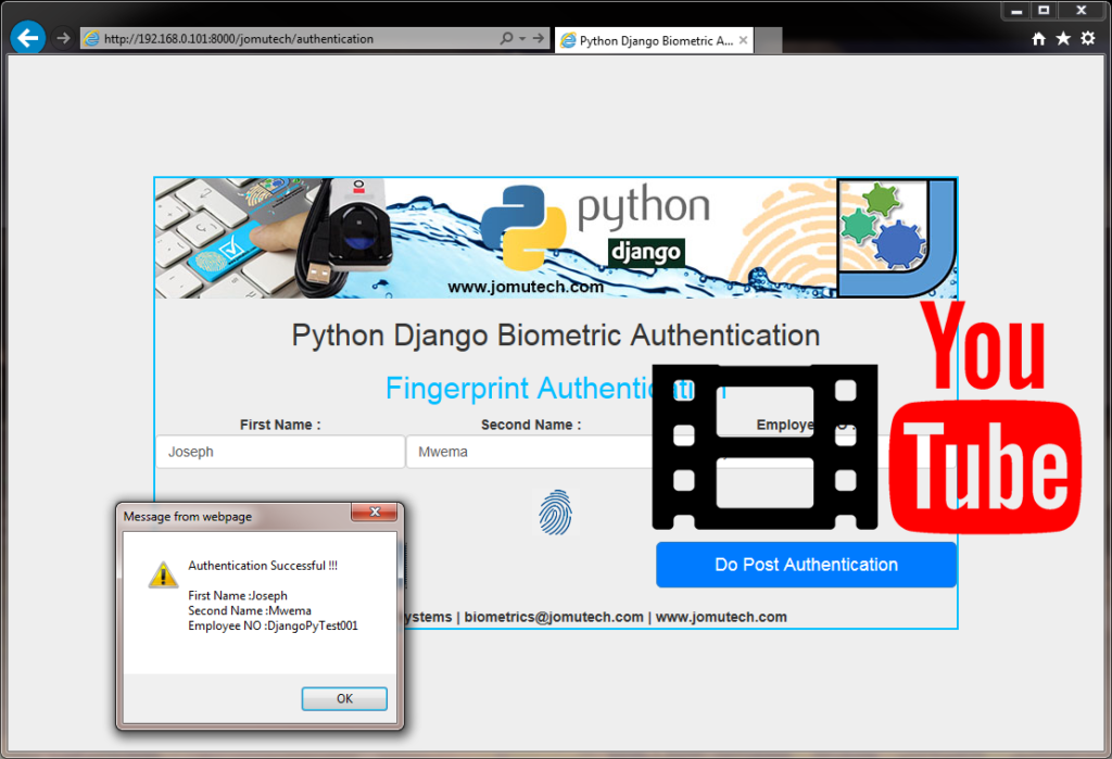Python Biometric Enrollment and Authentication Youtube Video Clip