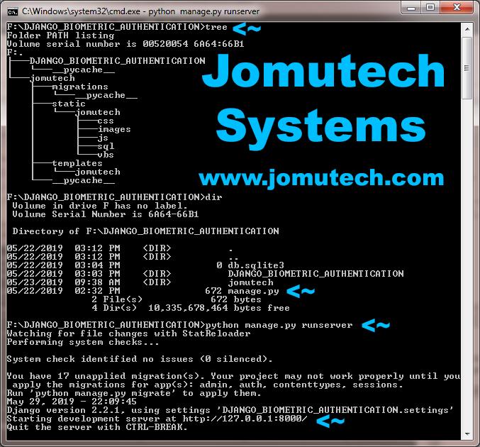 Starting Python Django Biometric Authentication Server