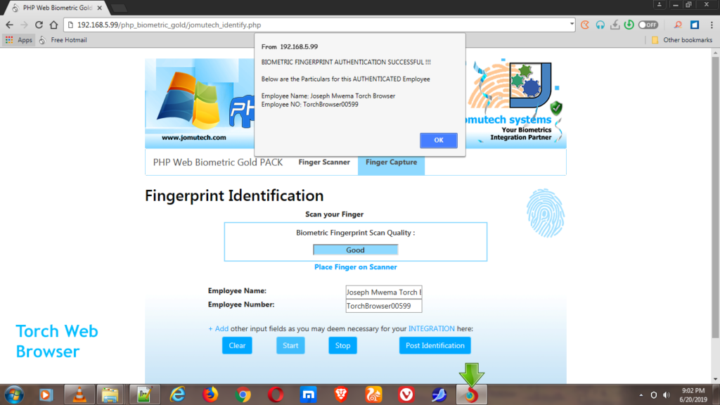 Fingerprint Match Successful while using Torch Web Browser in PHP Web Biometric Authentication Gold PACK