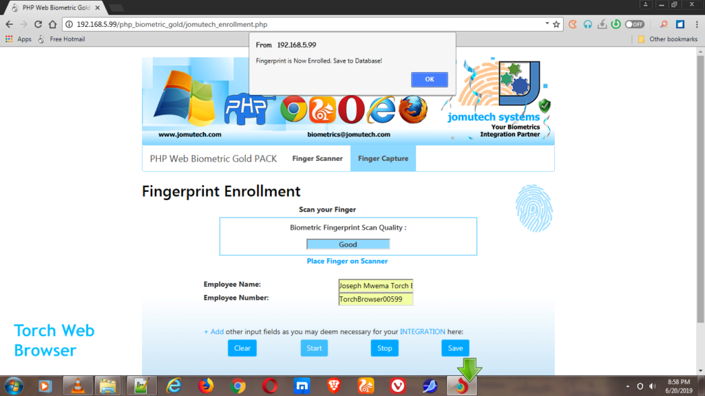PHP Web Biometric Fingerprint Enrollment while using Torch Web Browser