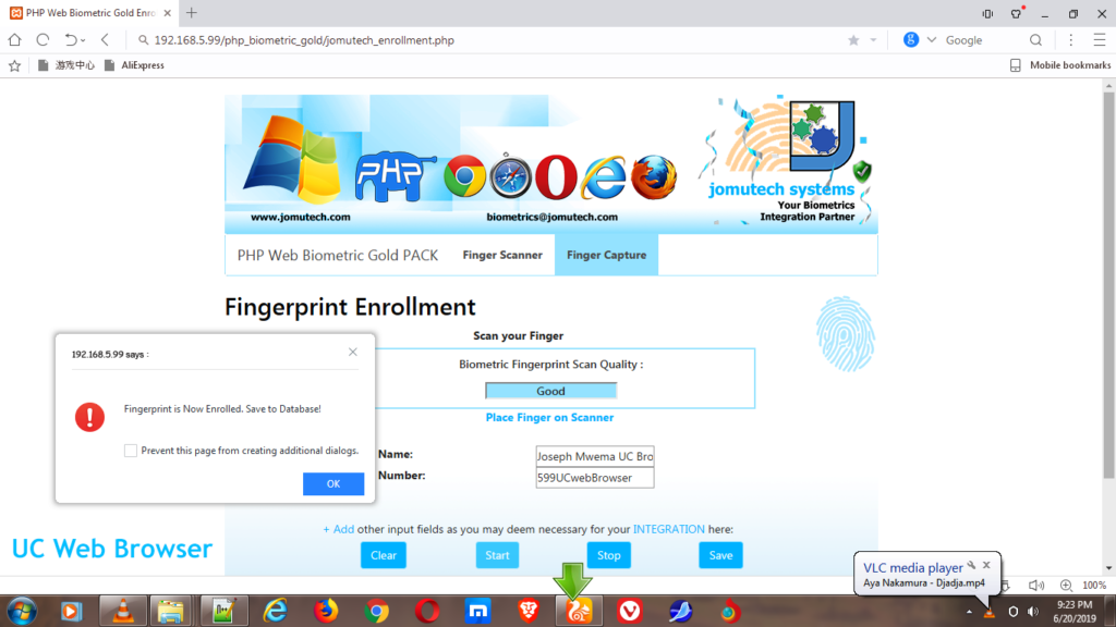UC Web Browser used to Enroll Biometric Fingerprints in PHP Web Biometric Authentication Gold PACK