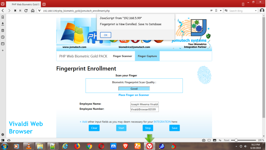 PHP Web Biometric Fingerprint Enrollment while using Vivaldi Web Browser
