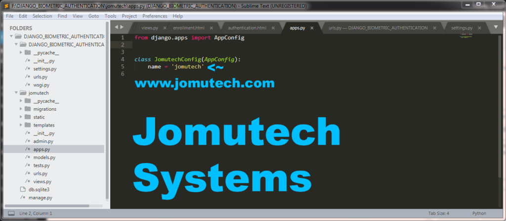 apps py file for jomutech django biometric authentication app
