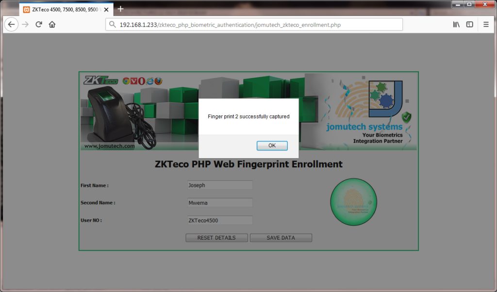 Fingerprint 2 Enrolled using ZKTeco 4500 Fingerprint Scanner in ZKTeco PHP Web Biometric PACK
