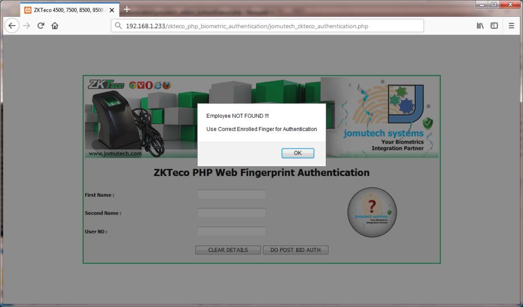 Fingerprint Match NOT Found while using ZKTeco Biometric Fingerprint Authentication PACK