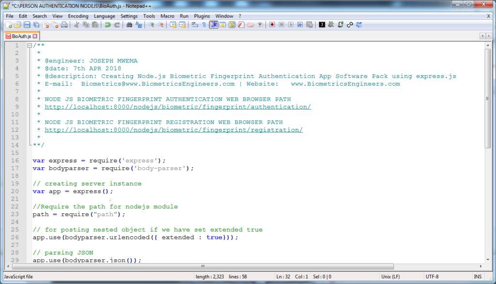 NodeJS Biometric Authentication – Jomutech Systems