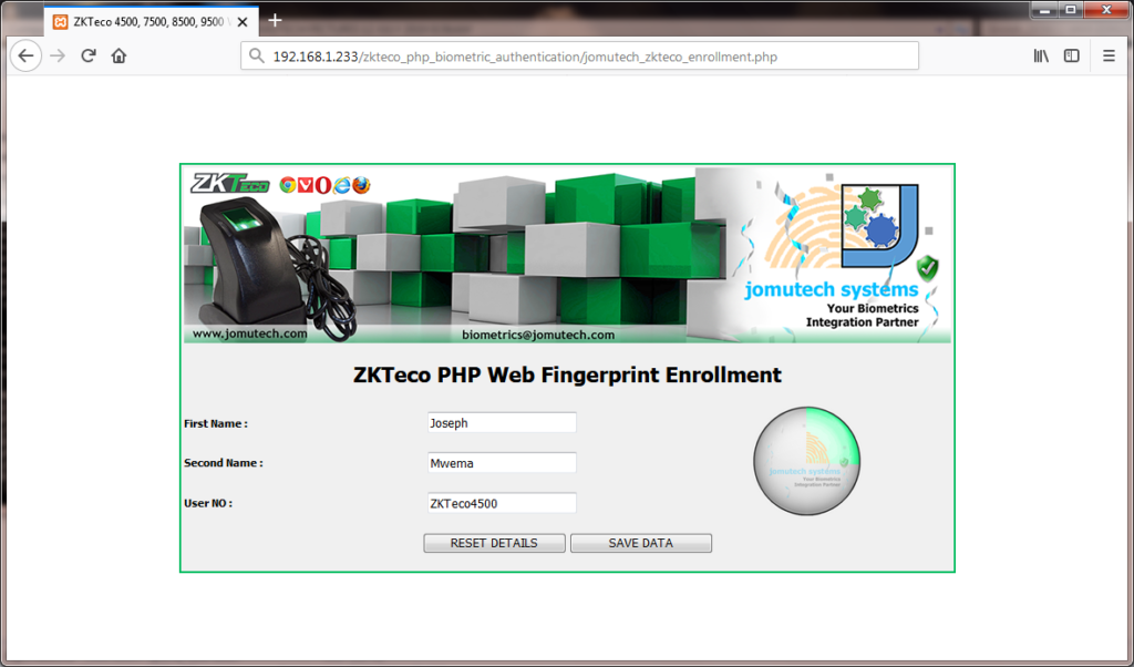 ZKTeco Biometric Fingerprint 1 Capture during PHP Biometric Fingerprint Enrollment