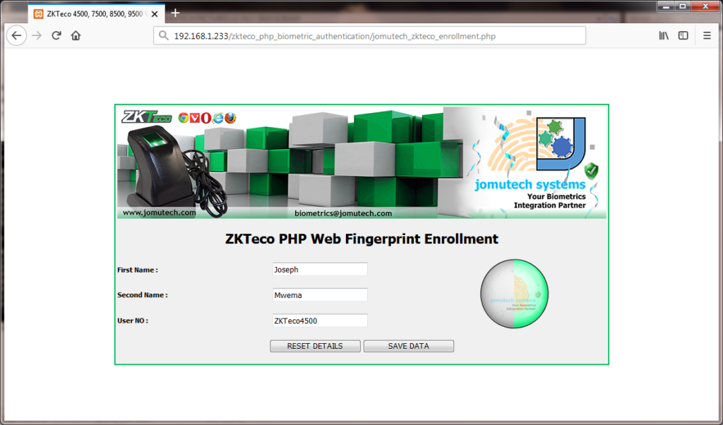 ZKTeco Biometric Fingerprint 2 Capture during PHP Biometric Fingerprint Enrollment