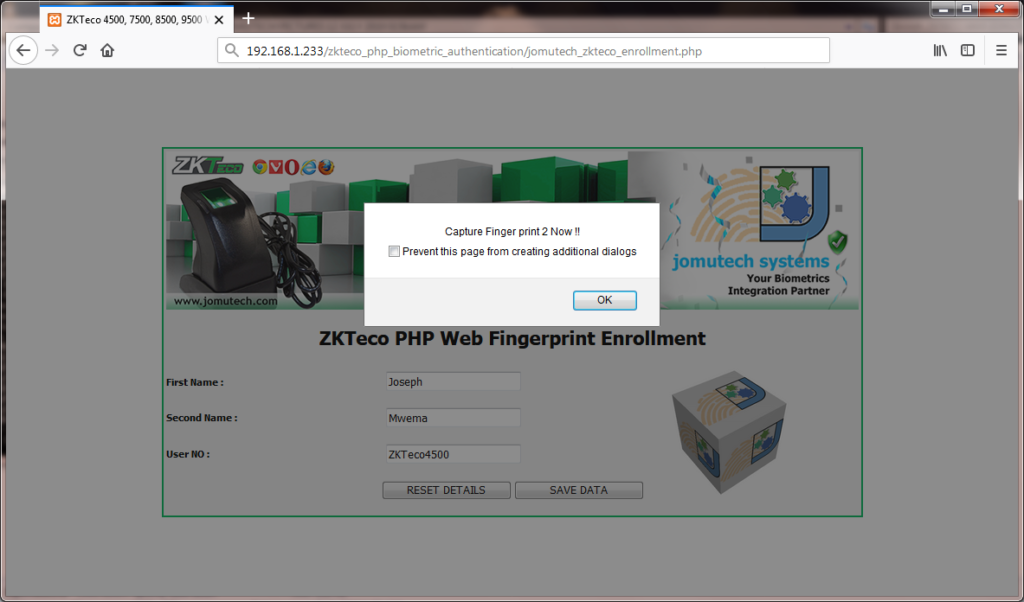 ZKTeco Capturing Fingerprint 2 during PHP Web Biometric Enrollment