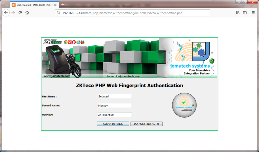 ZKTeco PHP Biometric Authentication Fingerprint Match Found