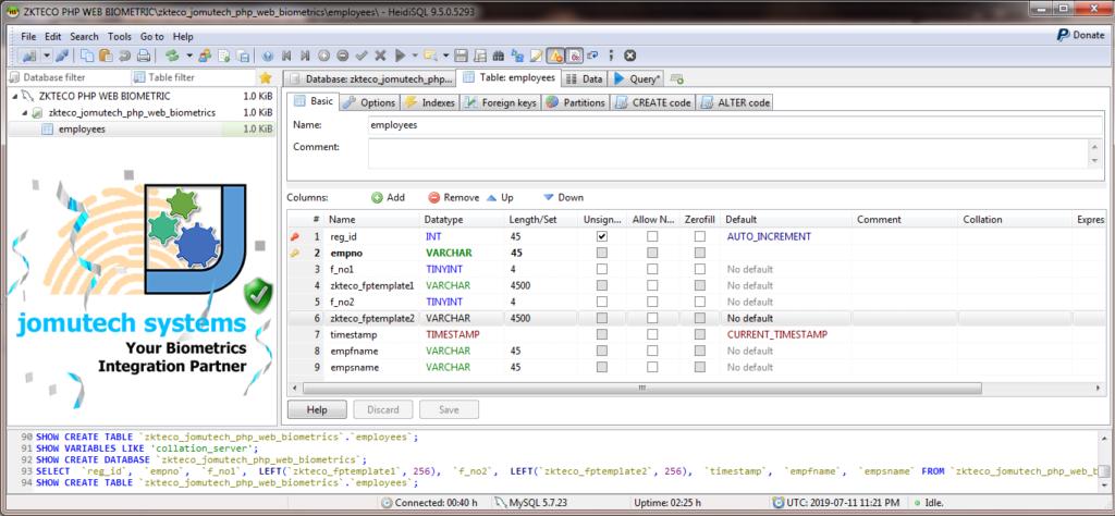 ZKTeco Biometric Database MySQL Table Structure