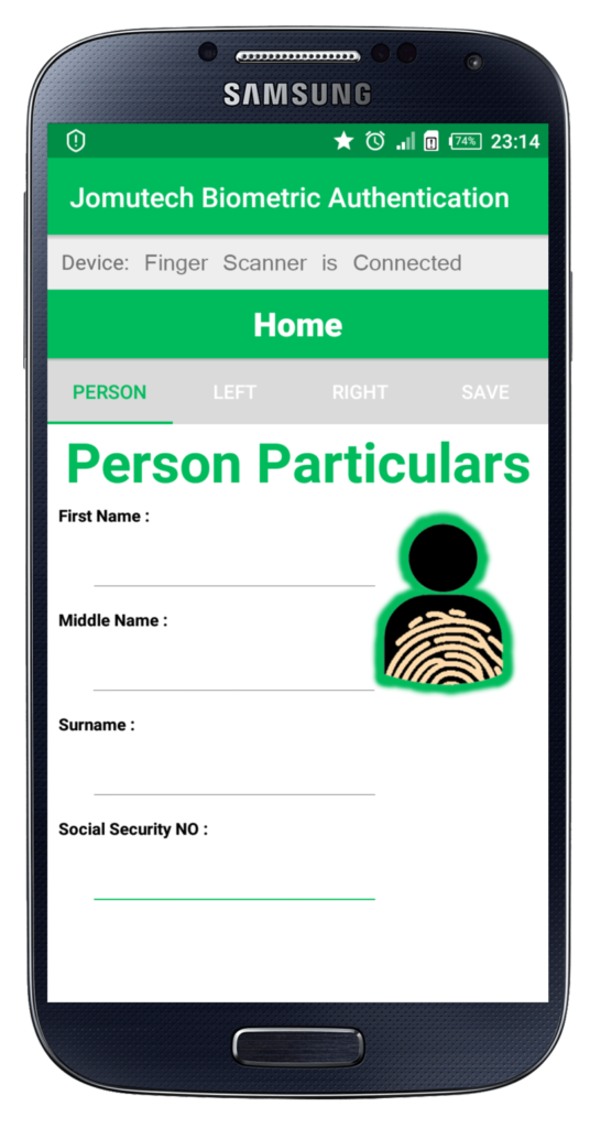 Android Biometric Fingerprint Authentication Before Entering Person Particulars Data Registration