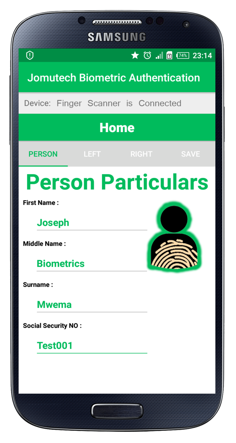 Android Biometric Fingerprint Authentication After Entering Person Particulars Data Registration