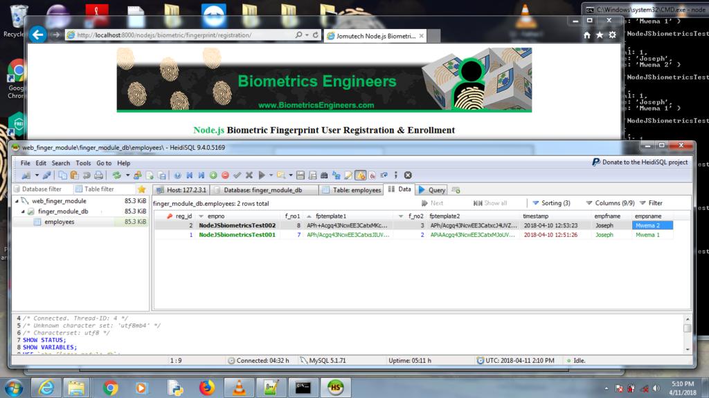 Node.JS Biometric Fingerprint Authentication MySQL Database Back-end