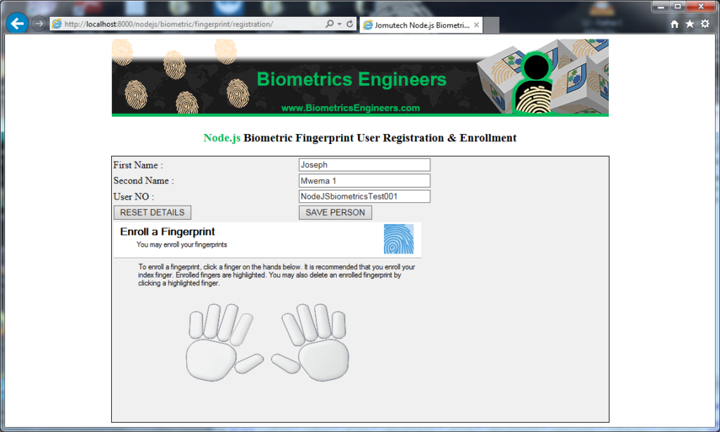 Node.JS Biometric Fingerprint Authentication