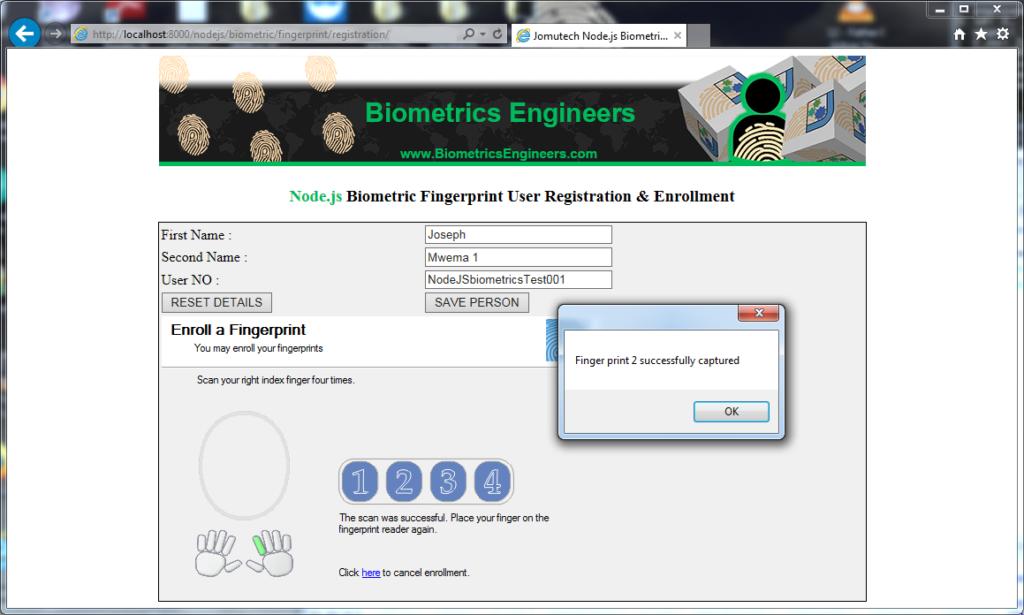Node.JS Biometric Fingerprint Authentication