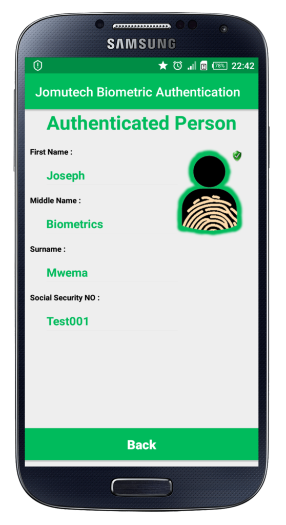 Android Biometric Particulars of Successfully Authenticated Person