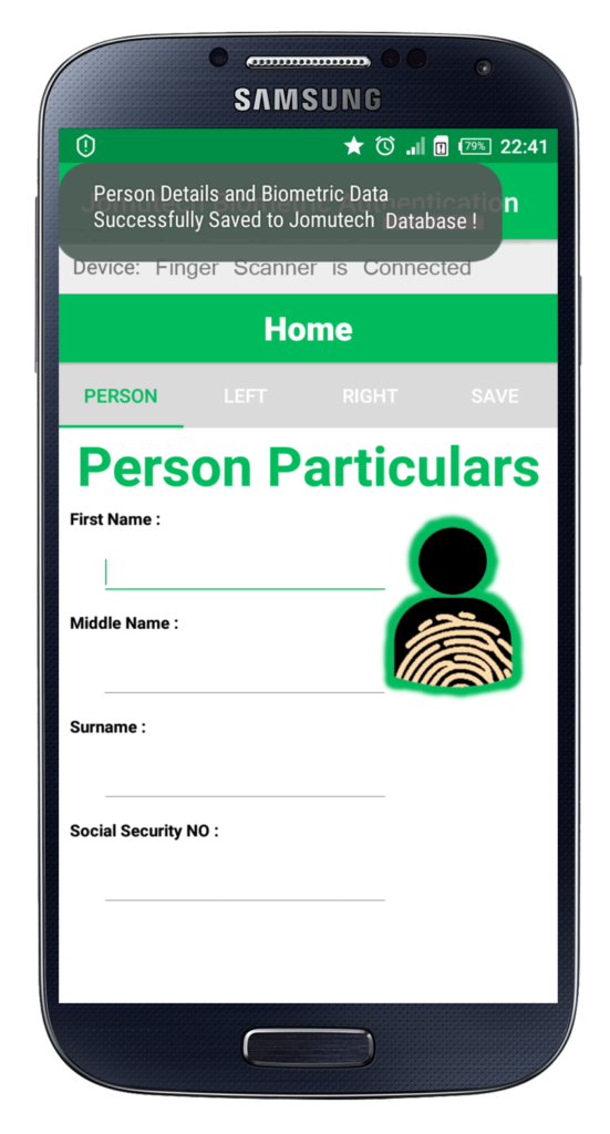 While Saving Android Biometric Fingerprint Authentication Person Data to Database